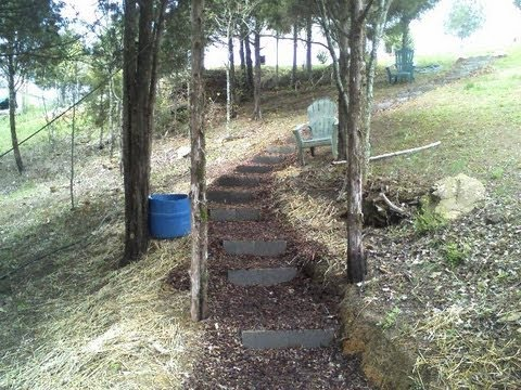 how to build wood steps up a hill