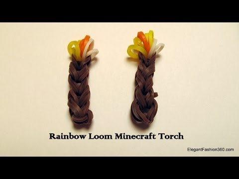 Rainbow Loom Minecraft Torch charm