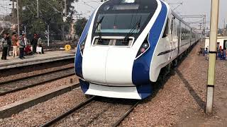 Train 18 (Vande Bharat Express) at ALJN during final trail run between NDLS and ALJN on 11-2-2019