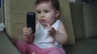 Funny baby phone call lot's of laughing