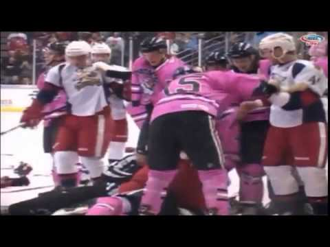 Bench Clearing Hockey Brawl - Rockford vs Grand Rapids - AHL
