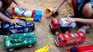 Xe đồ chơi trẻ em, Xe cứu hỏa, xe cẩu, xe bồn, xe đổ rác, xe xúc cát, car toy # Truck # kids toy