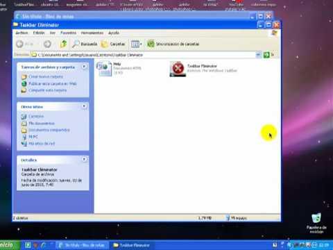 Quitar barra de herramientas de windows