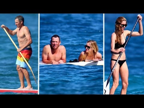 Lance Armstrong and Girlfriend: Paddle boarding In Hawaii