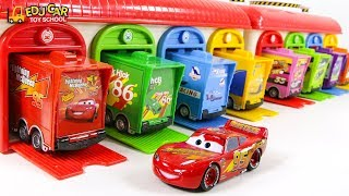 Learning Color Disney Cars Lightning McQueen mack truck double garage Play for kids car toys