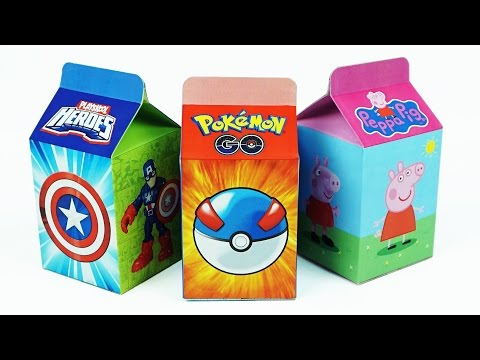 Learn Numbers 1 to 10 with Milk Carton Surprise Toys, Peppa Pig, Marvel Avengers , Pokemon Go