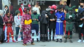 Kids dressed as Superheroes take part in Christmas Parade, Aizawl