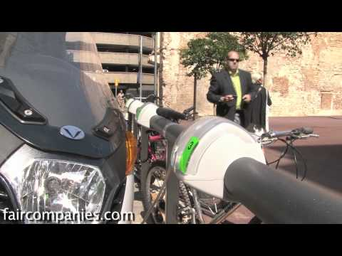 On demand EV motorcycle charging stations with iphone app