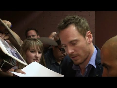 Michael Fassbender outside The Colbert Report