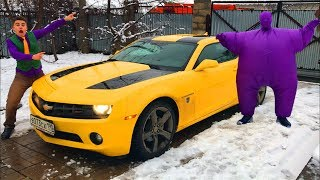 Purple Fat Man found Keys on Chevrolet Camaro & Started Funny Race VS Mr. Joe for Kids