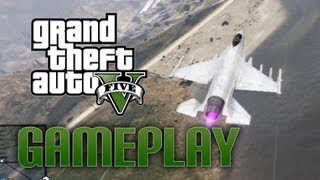 GTA V Trying to steal the Lazer Jet! PS3 Gameplay! HD