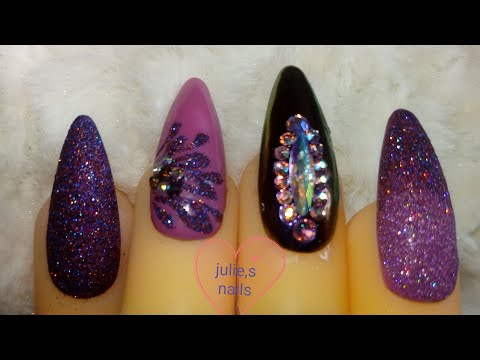 Purple-pink holo glitter gel nails