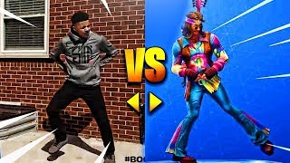 ALL *NEW* FORTNITE DANCES/EMOTES IN REAL LIFE! [UPDATED]