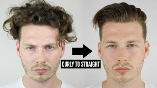 Mens Curly To Straight Hair Tutorial - How To Style Curly Hair 2018