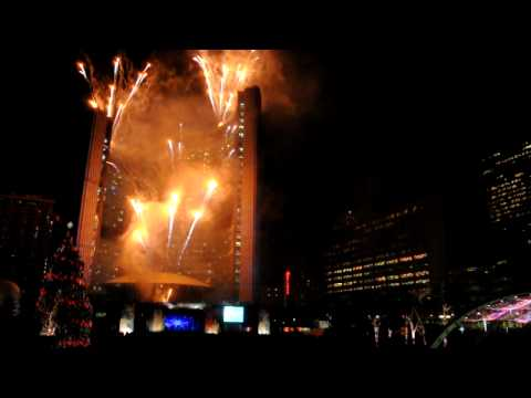 Olympic Flame fireworks at Toronto City Hall