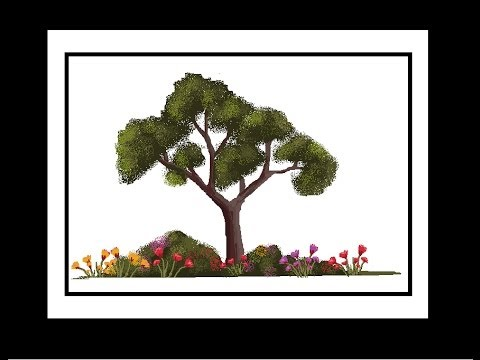 MS Paint Tutorial : Easy method of painting tree and flowers (Request video)