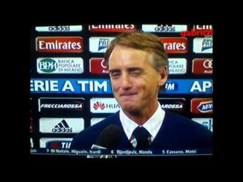 Milan Inter 1 1 Mancini battute amorose con Ilaria D'Amico e Alciato