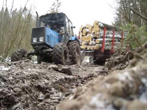 МТЗ буксует в лесу - YouTube