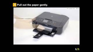 PIXMA MG5722: Removing a jammed paper from the paper output slot