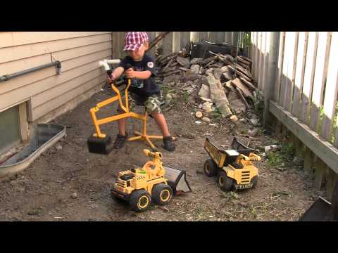 Excavator Toy with Dump Truck and Bulldozer digging at work