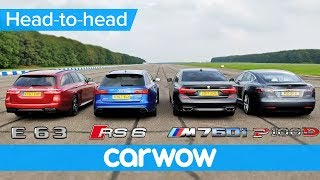 BMW M760Li v Tesla Model S v Audi RS 6 v Mercedes-AMG E63 S Estate DRAG & ROLLING RACE