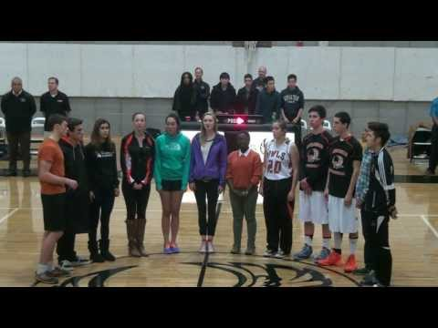 The Athenian School hOwlers singing the National Anthem - 01/31/2014
