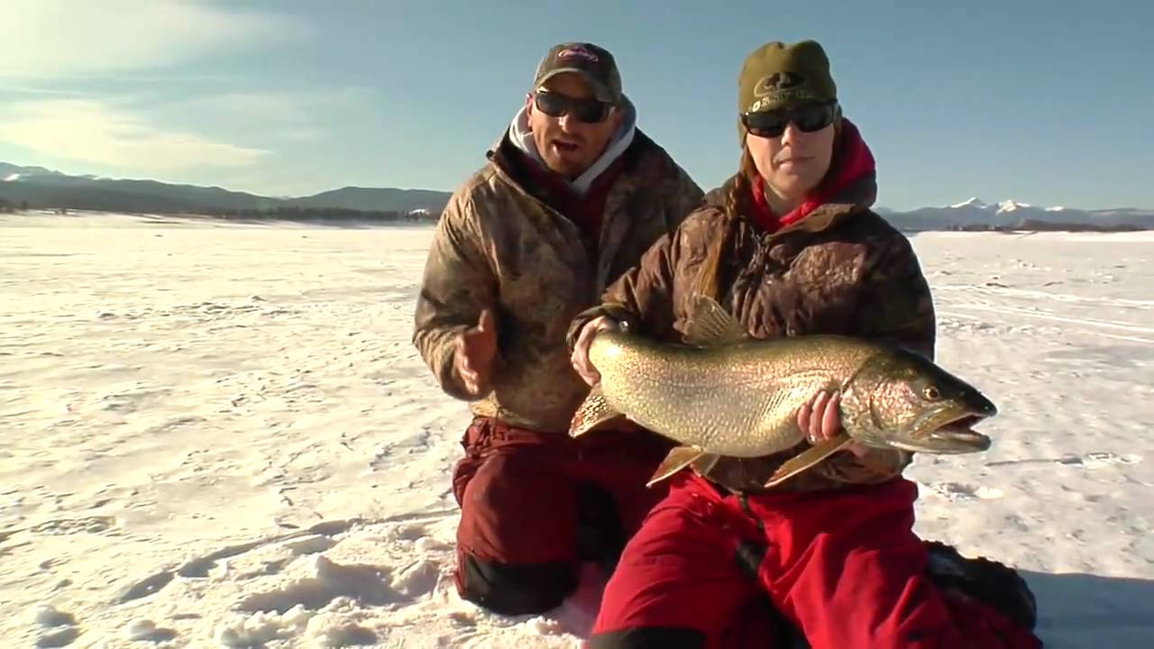 Fishing Video. Ice Fishing for Huge Lake Trout in Granby ...