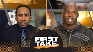 Stephen A. Smith asks Adrian Peterson if he'd rather join Saints or Vikings | First Take | ESPN