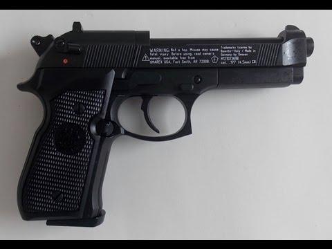 Pistola de co2 Beretta M92FS Preta semi-automática chumbinho 4.5mm