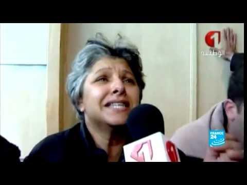 image vidéo دموع أرملة شكري بلعيد بعد مقتل زوجها