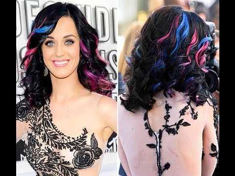 Katy Perry Natural Hair Color on Katy Perry Curly Colored Highlights Hair Tutorial