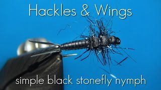 Fly Tying Simple Black Stonefly Nymph | Hackles & Wings