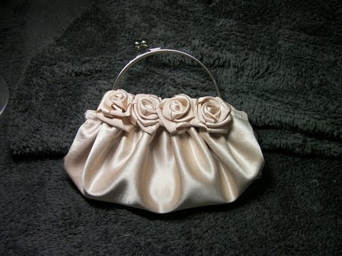 DIY COMO HACER UN BOLSO DE ROSAS EN  RASO BEIGE - HOW TO MAKE A ROSE SATIN BEIGE PURSE Music Videos