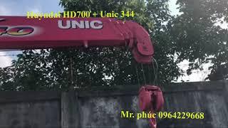 Huyndai HD700 3,5 tấn nâng tải gắn cẩu Unic 344 - 0964229668