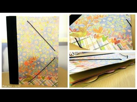 Manualidades para la vuelta al cole. Como decorar una carpeta. Tutorial Scrapbook