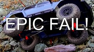 ADVENTUREQUEST RC - Axial SCX10 II EPIC FAIL Torture Test Crash Crawling in Rock Quary