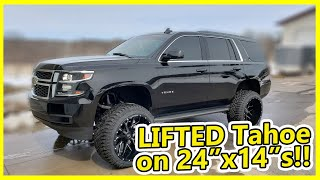 """You Must look at this CHEVY Lifted TAHOE ON 24X14s Hardrockoffroad Wheels with 6"""" Procomp Lift"""
