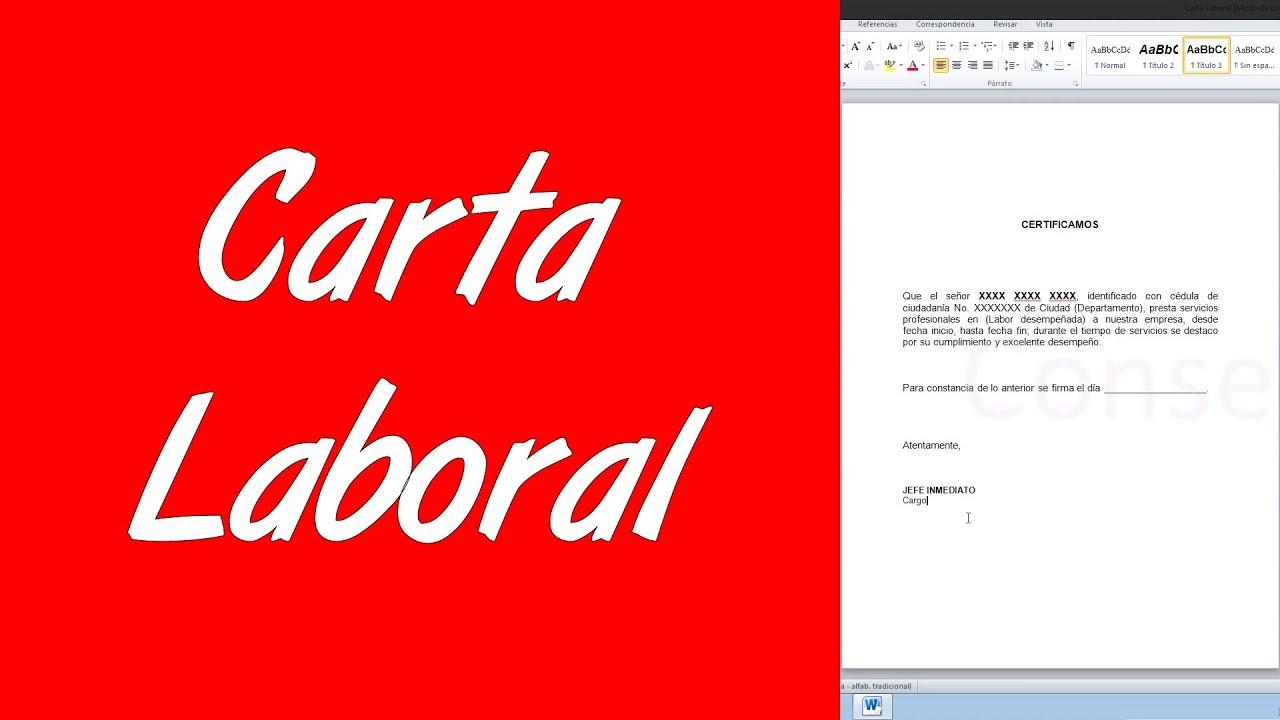 como hacer una carta laboral en word 2010