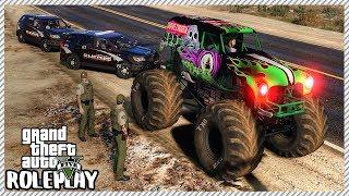GTA 5 Roleplay - Police Chase Monster Jam Grave Digger | RedlineRP #431