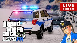 GTA 5 LSPDFR CITY PATROL LIVE Snow Storm | GTA 5 LSPDFR Police Mod Realistic Police Patrol
