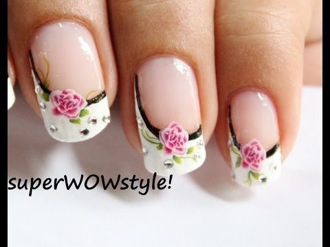 Water Decals + Side French Manicure Nail Designs (French tip nail art)