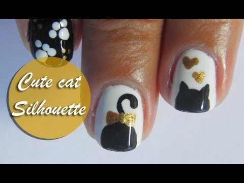 Cute cat silhouette nail art tutorial