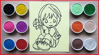 Đồ chơi trẻ em, tô màu tranh cát cậu bé ngủ cầm bông hoa - Colored sand painting toys (Chim Xinh)