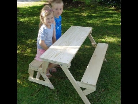 Kids 2-in-1 folding picnic table and bench seat - YouTube
