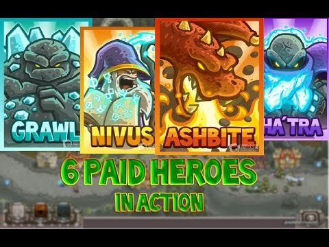 Kingdom Rush Frontier - 6 PAID HEROES IN ACTION - Close Scene