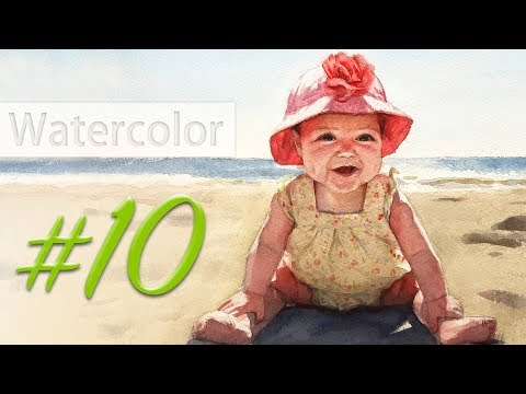 Portrait of a baby girl - watercolor painting step by step #10