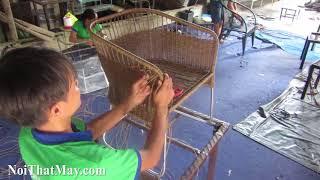 Hướng dẫn cách đan ghế cafe nhựa giả mây cao cấp tại xưởng đan mẫu nội thất minh thy.