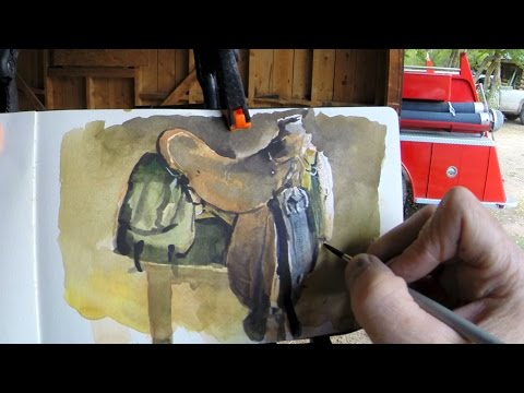 Painting a Saddle in Watercolor - Time Lapse by James Gurney