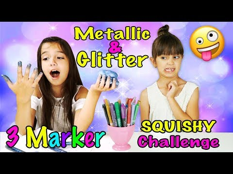 3 MARKER SQUISHY CHALLENGE - Only Glitter and Metallic Markers
