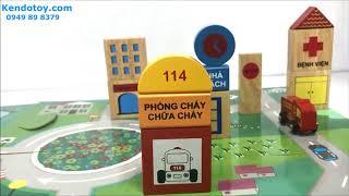 Mở hộp mô hình thành phố đồ chơi gỗ của chị Thỏ Trắng